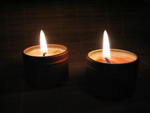 Burning Candles in the Night Stock Photography