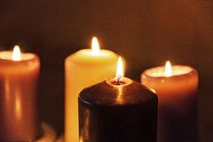 Burning candles. Candles burning in the night Royalty Free Stock Photo