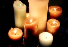 Free Burning Candles On Black Background Top View Royalty Free Stock Photos - 110535368