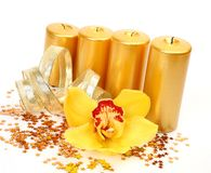 Burning candles and orchids Stock Photography