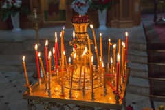 Burning candles in an Orthodox church in Easter Royalty Free Stock Image