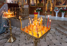 Burning candles in an Orthodox church in Easter. Easter is the most popular religious holiday in Russia Royalty Free Stock Photo