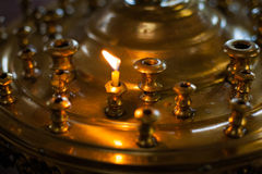 Burning candles in ortodox church Royalty Free Stock Photography
