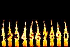Burning candles 0-9 Royalty Free Stock Image