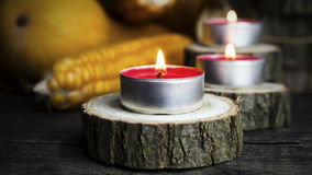 Burning Candles With Pumpkins, Corncob, autumn leaves in the bac Royalty Free Stock Photo