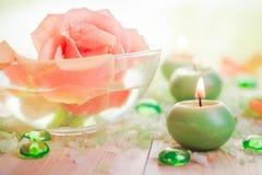 Burning candles salt spa Royalty Free Stock Images