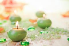 Burning candles salt spa Royalty Free Stock Photo