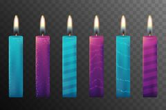 Burning candles set. Aromatic decorative round cylindrical candle sticks with burning flames on transparent background. EPS 10 and JPEG files Royalty Free Stock Photography