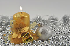 Burning candles silver ball Stock Photography