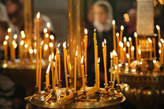 Burning candles in thechurch, sacred fire Royalty Free Stock Photography