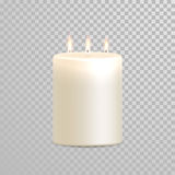 Burning candles three wicks vector  set Royalty Free Stock Photos
