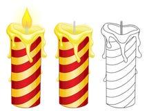Burning candles on white background. Burning candles and without flame on white background Stock Photography