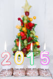 Burning candles with 2015 year and with fruit tree on background Royalty Free Stock Images