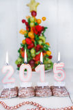Burning candles with 2015 year and with fruit tree on background Stock Photo