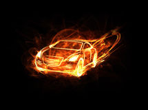 Burning car. Illustration of high speed flaming car Stock Photo