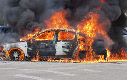 Burning car Stock Image