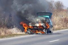 Burning car stock photos