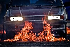 Burning car Royalty Free Stock Images