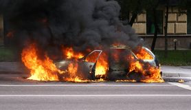 Burning car Royalty Free Stock Photo