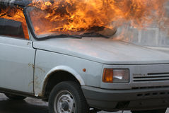 Burning car. A burning car Royalty Free Stock Photos