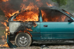 Burning car Stock Images