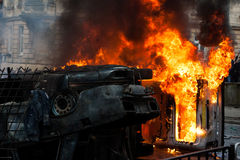 Burning car. car destroyed and set on fire during the riots. city center Stock Photography
