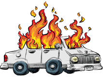 Burning Car Royalty Free Stock Photography