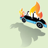 Burning car crash icons posed on its side Royalty Free Stock Image