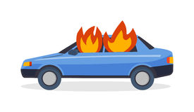 Burning car fire suddenly started engulfing all the car accident danger vector. Car fire danger automobile road burn and car fire emergency auto destruction Royalty Free Stock Photo