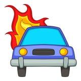 Burning car icon, cartoon style. Burning car icon. Cartoon illustration of burning car vector icon for web Stock Image
