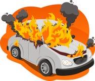 Burning car illustration Royalty Free Stock Images