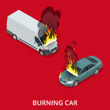 Burning car on the road. Fire suddenly started engulfing the car. Flat 3d vector isometric illustration Royalty Free Stock Photos