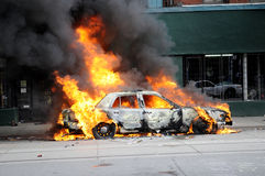 Burning car in Toronto. royalty free stock photo