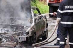 Burning Car. Totally burned car action. Royalty Free Stock Photo