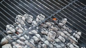 Burning carbon in barbecue grill stock video
