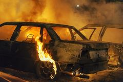 Burning cars Stock Image
