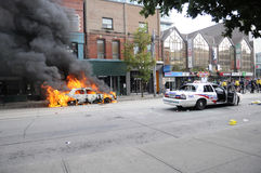Burning cars in Toronto. Royalty Free Stock Image