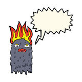 Burning cartoon ghost with speech bubble Stock Image