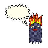 Burning cartoon ghost with speech bubble Royalty Free Stock Photography