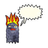 Burning cartoon ghost with speech bubble Stock Images