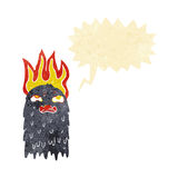 Burning cartoon ghost with speech bubble Royalty Free Stock Photo