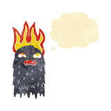Burning cartoon ghost with thought bubble Royalty Free Stock Image