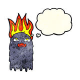Burning cartoon ghost with thought bubble Royalty Free Stock Images