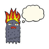 Burning cartoon ghost with thought bubble Royalty Free Stock Photography