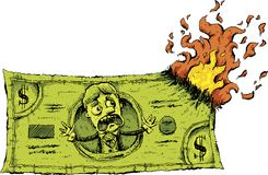 Burning Cash Money. A cartoon character on a cash dollar bill reacts with fear when the money catches on fire and starts burning Royalty Free Stock Photos