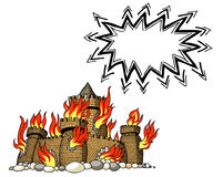 Burning castle-100. Cartoon image of burning castle. An artistic freehand picture Royalty Free Stock Photo