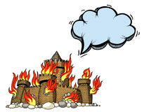 Burning castle-100. Cartoon image of burning castle. An artistic freehand picture Royalty Free Stock Photos