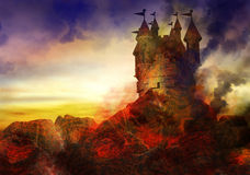 Burning Castle. Fantasy image of a castle burning with fire surrounded by a molten lava landscape Stock Photography
