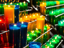 Burning catholic prayer candles Royalty Free Stock Images