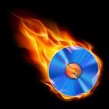 Burning CD. Illustration on black background for design Stock Photography